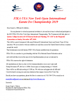 Invitational Letter for FIKA USA Open 2019